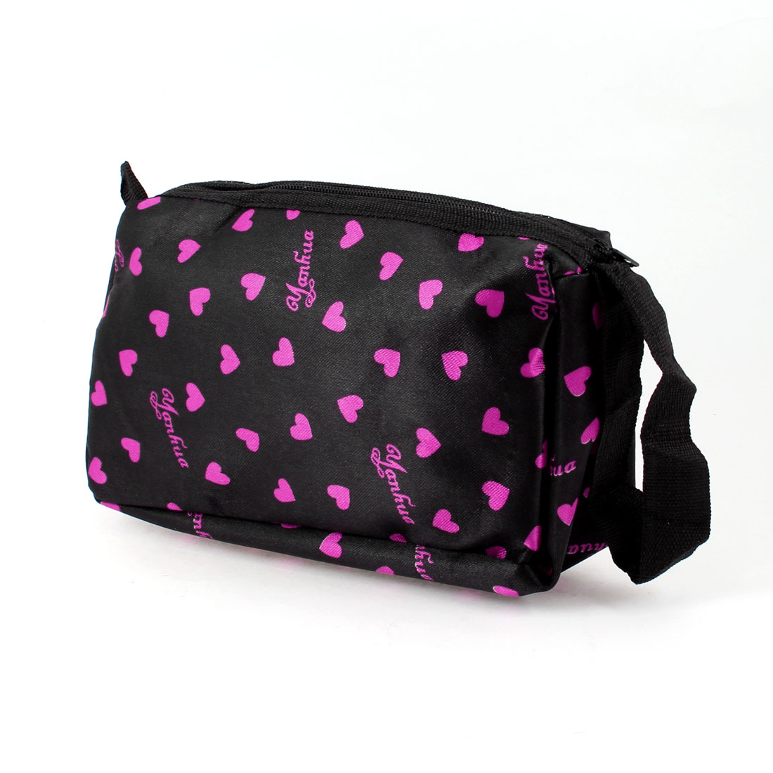 Women Zipper Closure Fuchsia Heart Pattern Cosmetic Pouch Bag Black w Mirror