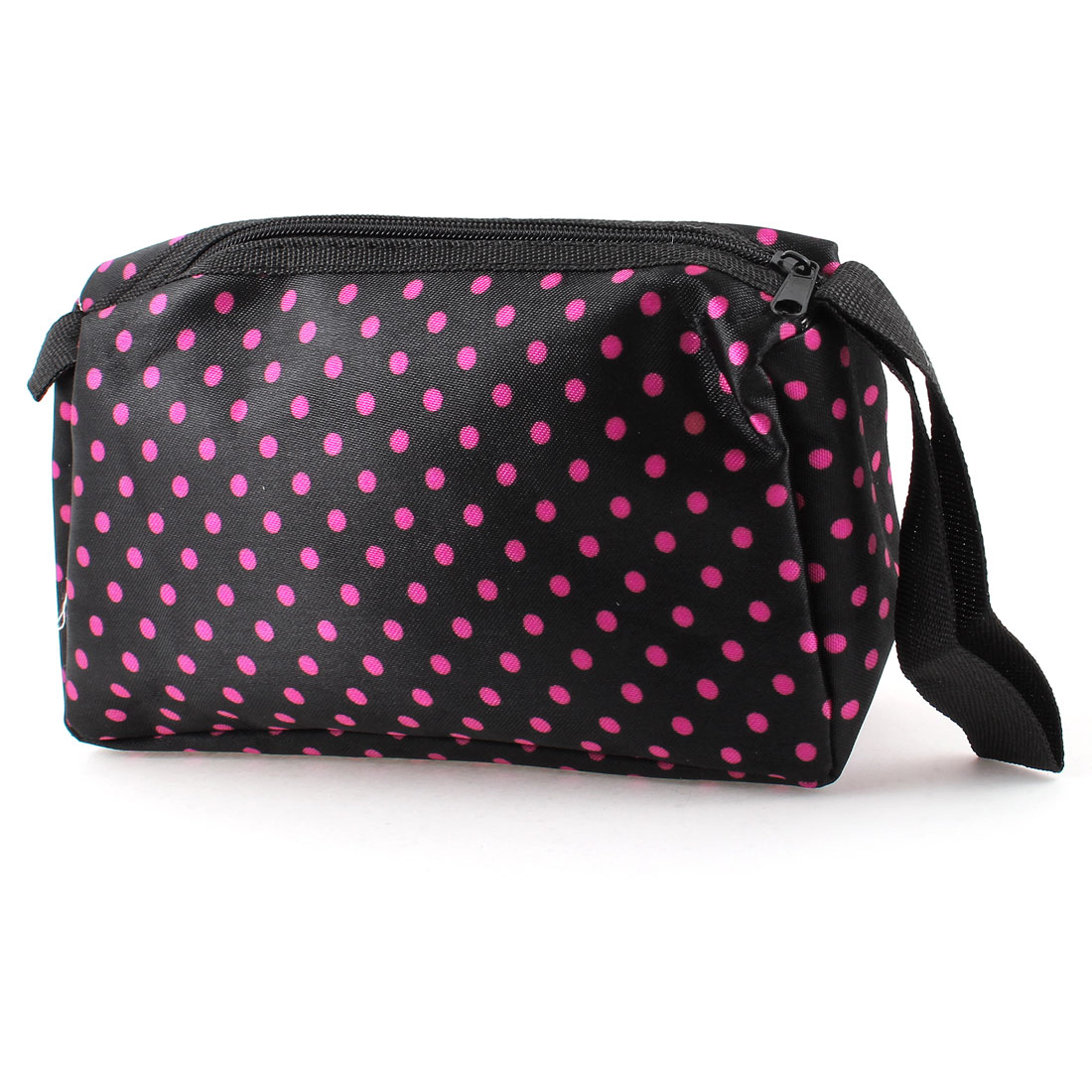 Zip Up Fuchsia Dots Pattern Black Cosmetic Pouch Bag w Hand Strap