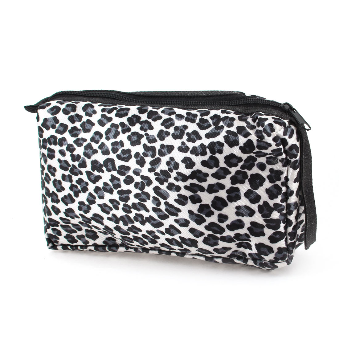 Black Steel Blue Leopard Pattern Zip Up Cosmetic Bag Makeup Case Pouch White