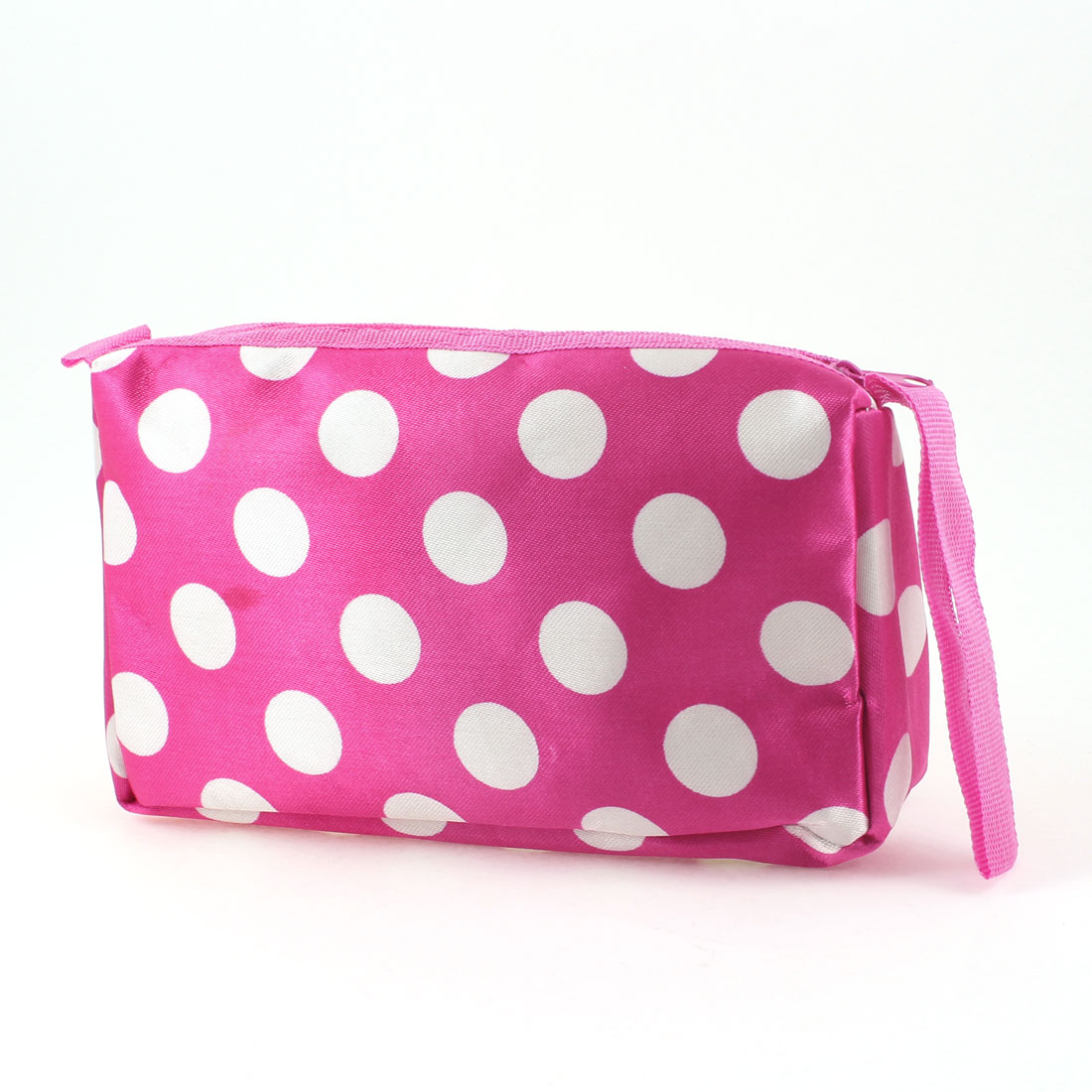 White Dots Pattern Pockets Mirror Cosmetic Bag Holder Fuchsia for Lady