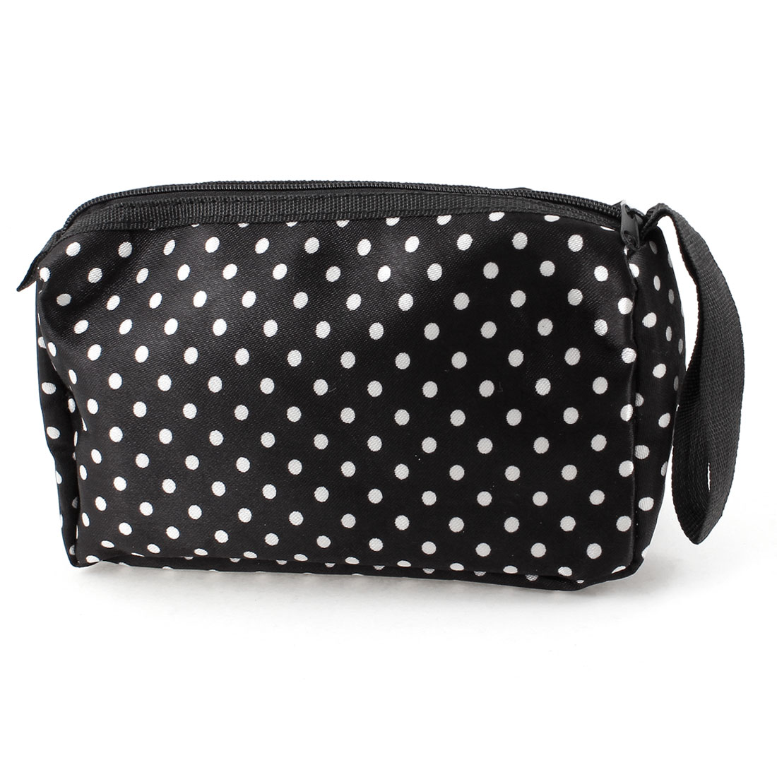 Lady White Dots Printed Pockets Mirror Cosmetic Bag Holder Black