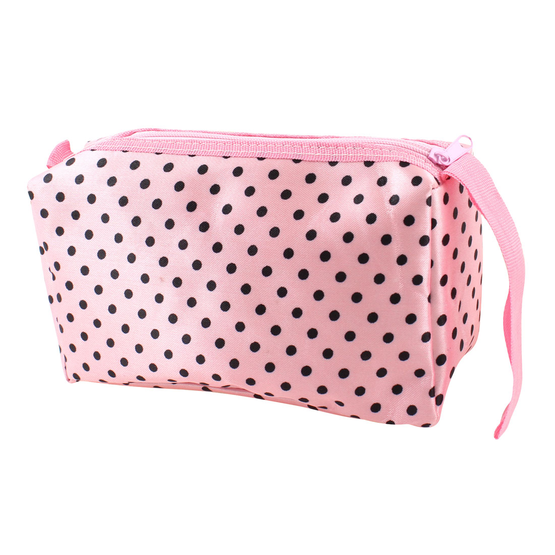 Black Dots Pattern Rectangle Pink Storage Case Cosmetic Makeup Bag for Lady