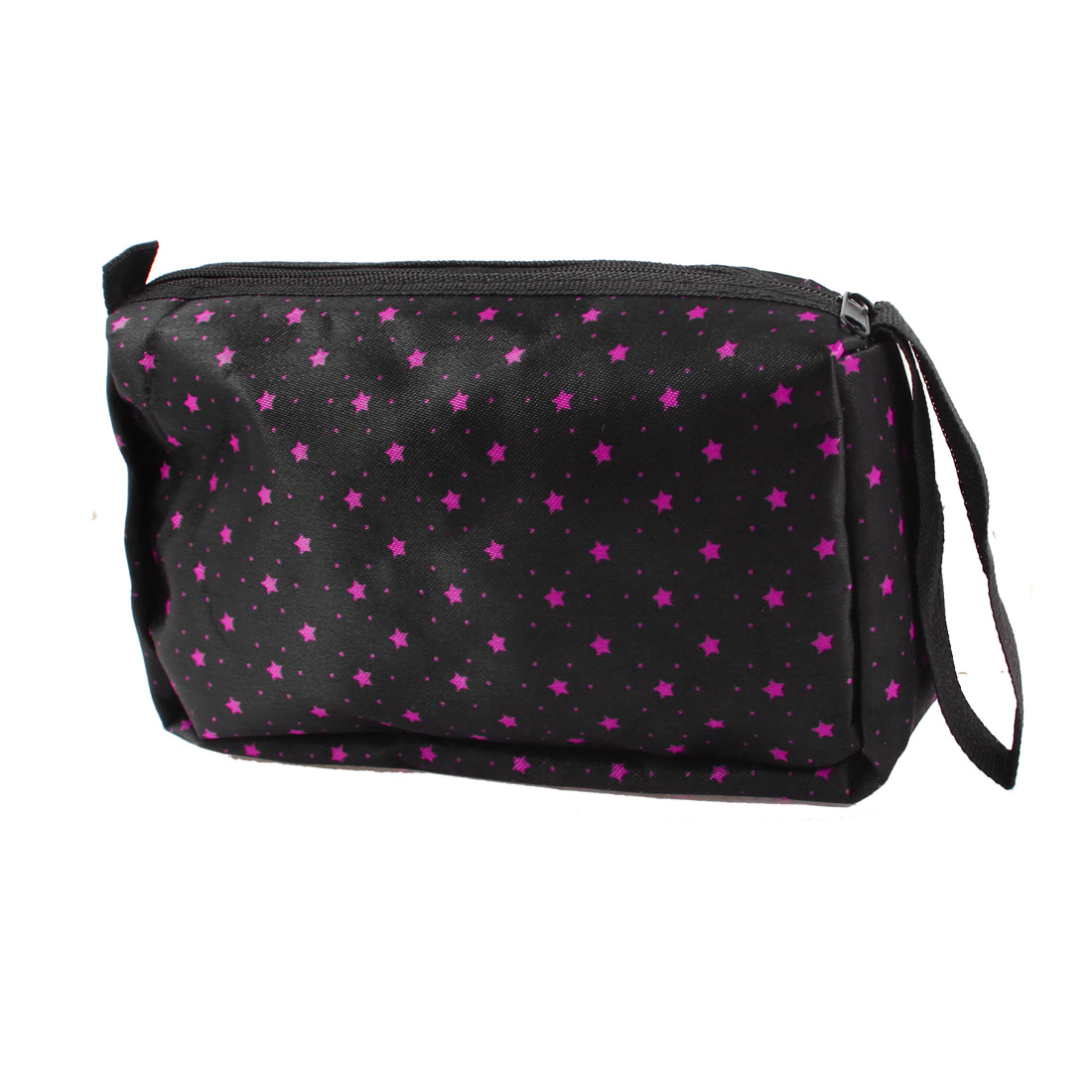 Rectangle Fuchsia Star Dot Prints Zip Up Cosmetic Pouch Bag Black for Lady