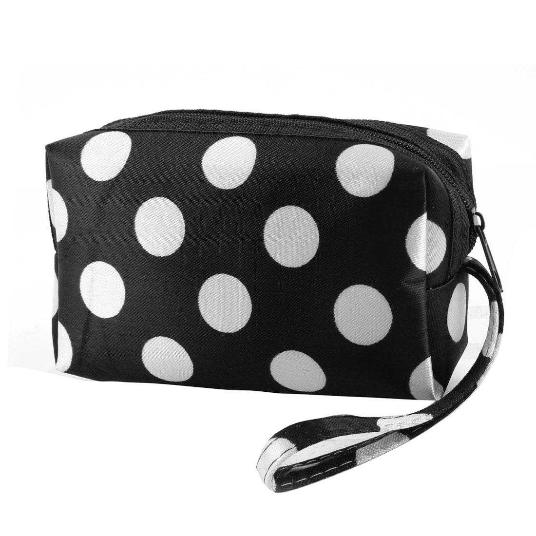 Lady Zip Up White Dots Detail Black Wallet Purse Bag w Handstrap
