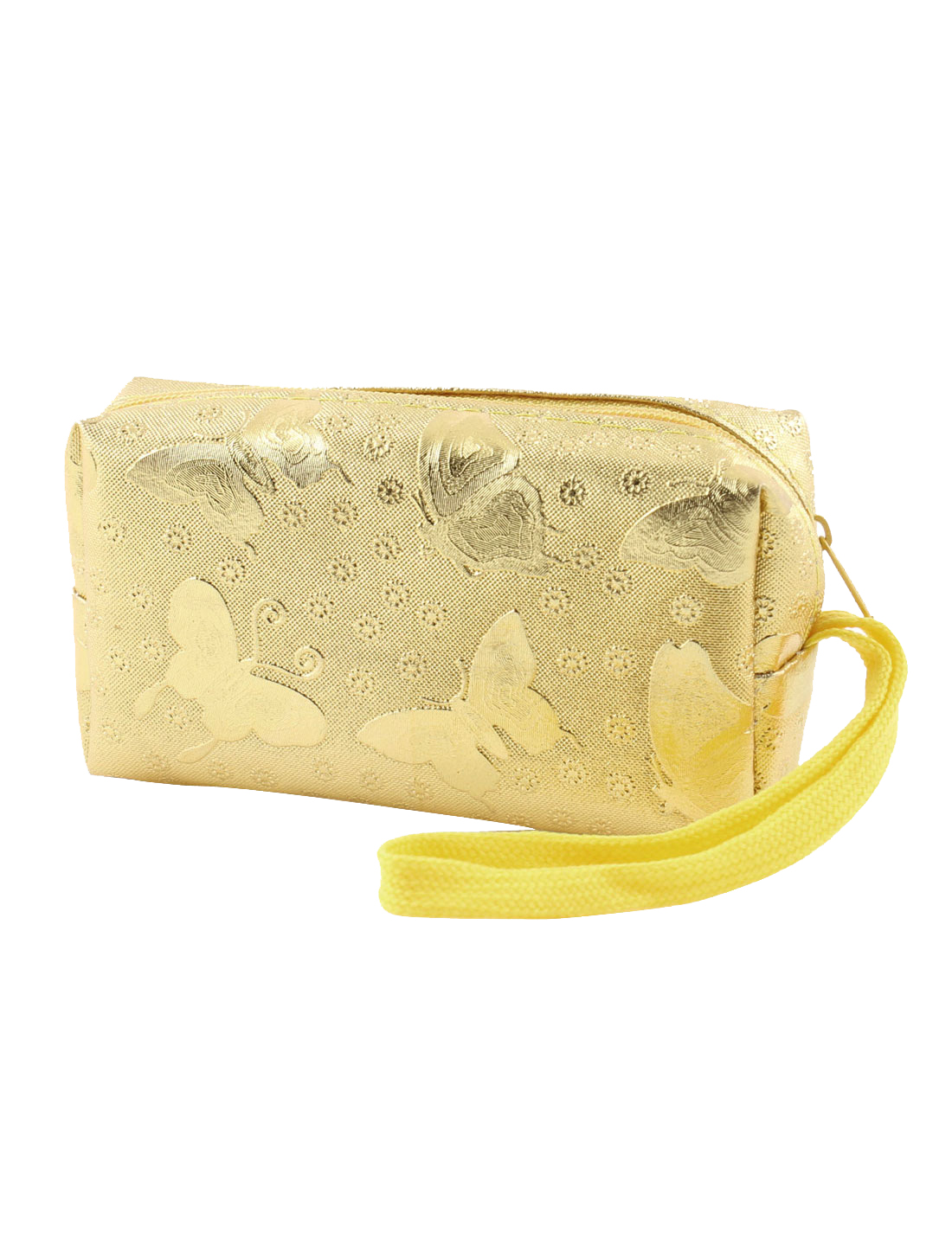 Zip Up Butterfly Flower Pattern Gold Tone Wallet Purse w Strap for Lady