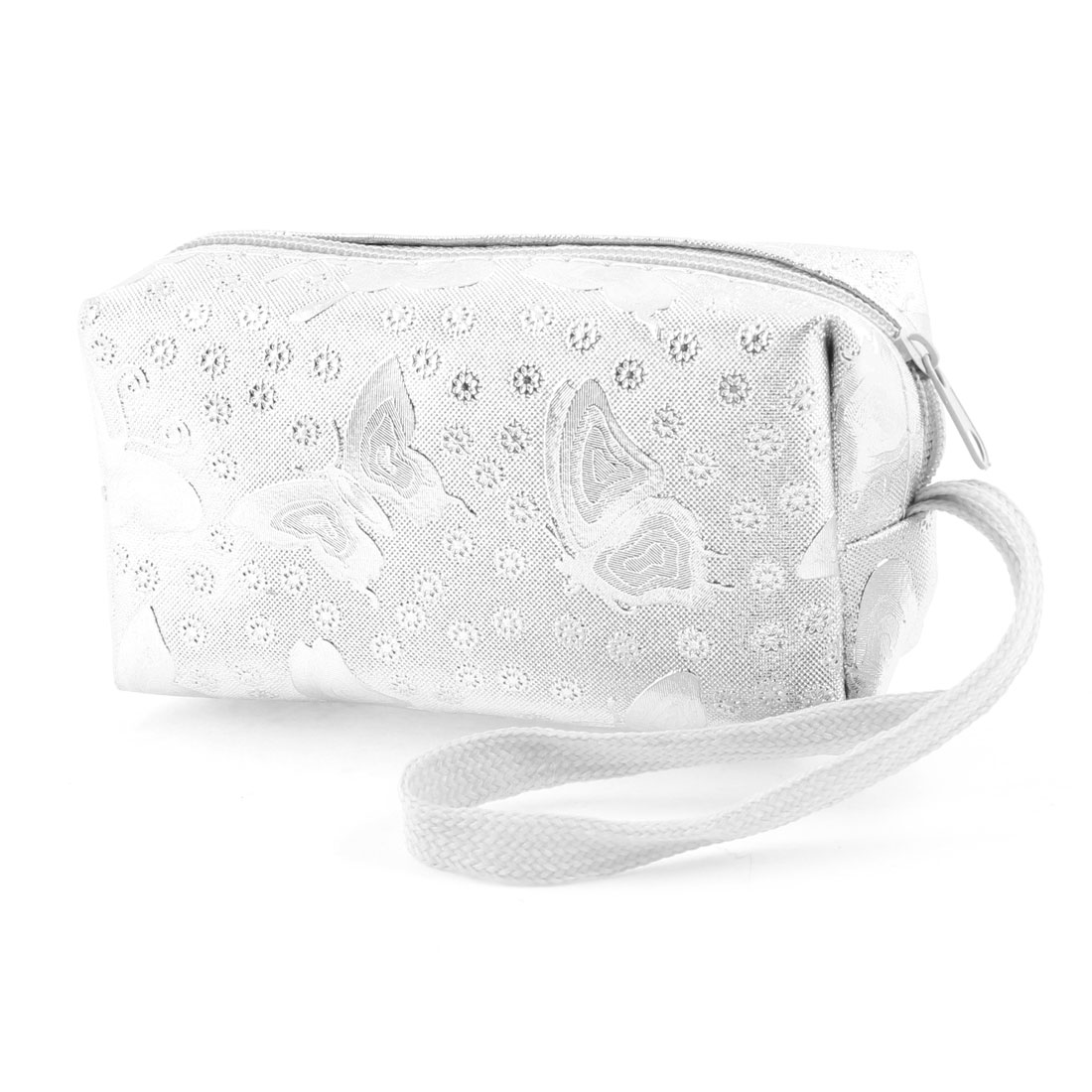 Silver Tone Butterfly Flower Detail Zippered Purse Wallet for Women