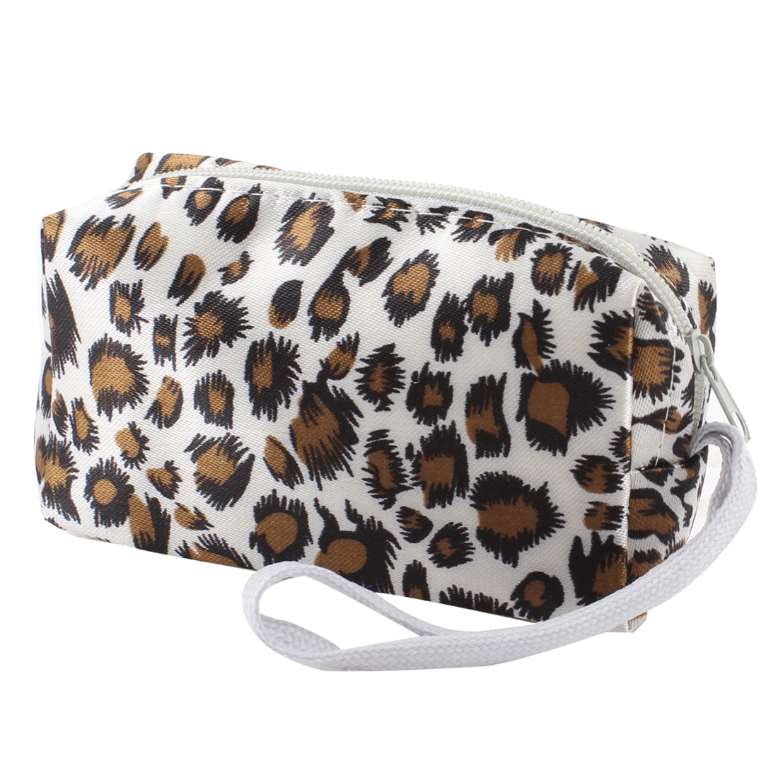 Zipper Closure Brown Leopard Ptinted White Purse Wallet for Women
