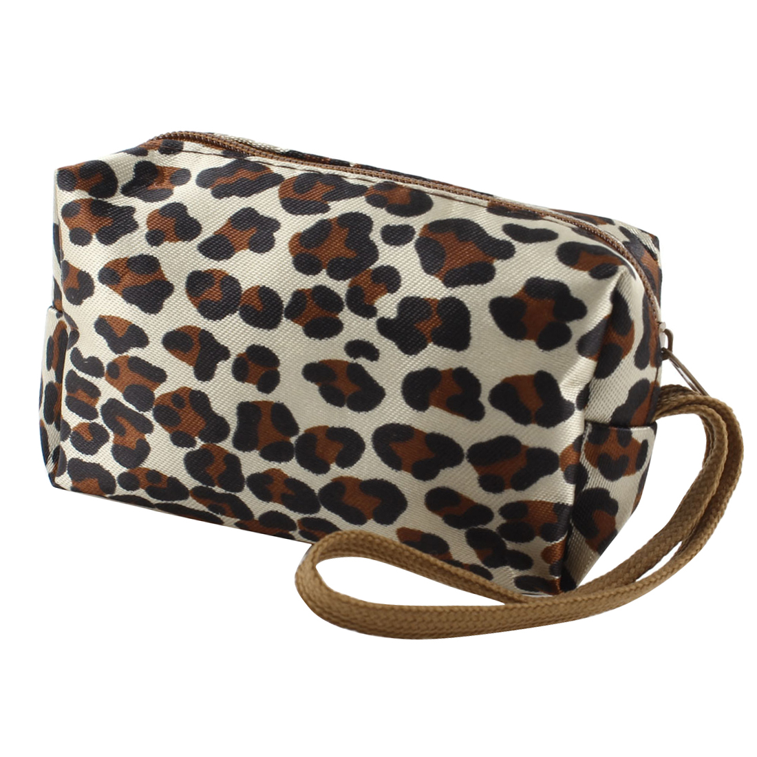 Women Retangle Zippered Black Brown Leopard Prints Beige Purse Wallet