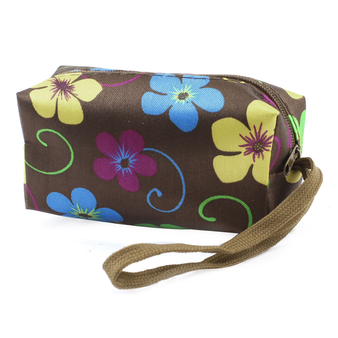 Colourful Flowers Pattern Zipper Closure Wallet Purse Brown for Lady