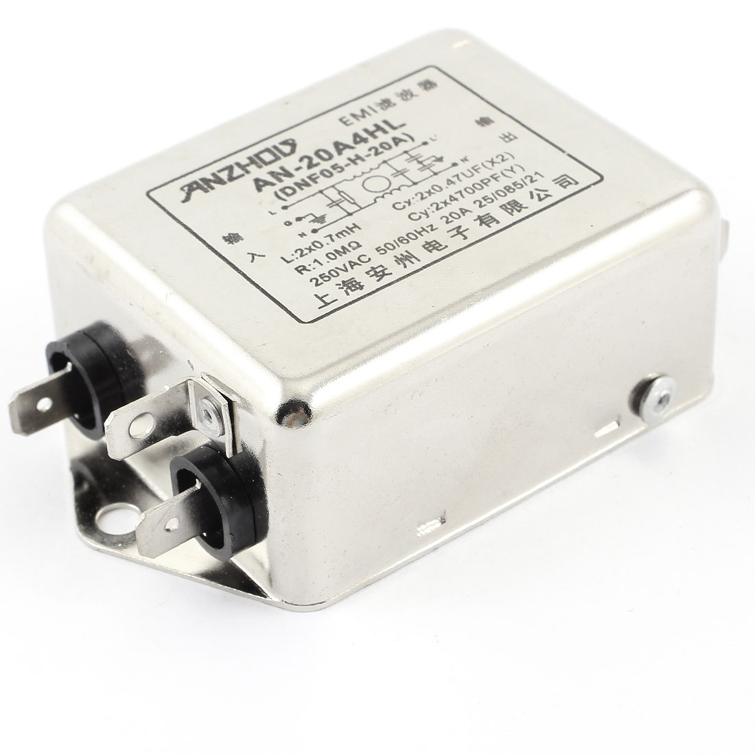 20A Rated Current 50/60Hz AC 250V EMI Filter New AN-20A4HL