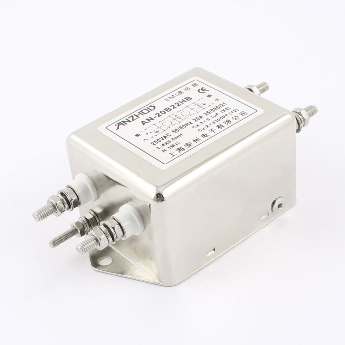 20A Rated Current AC 250V 50/60Hz AN-20B22HB Power Line EMI Filter