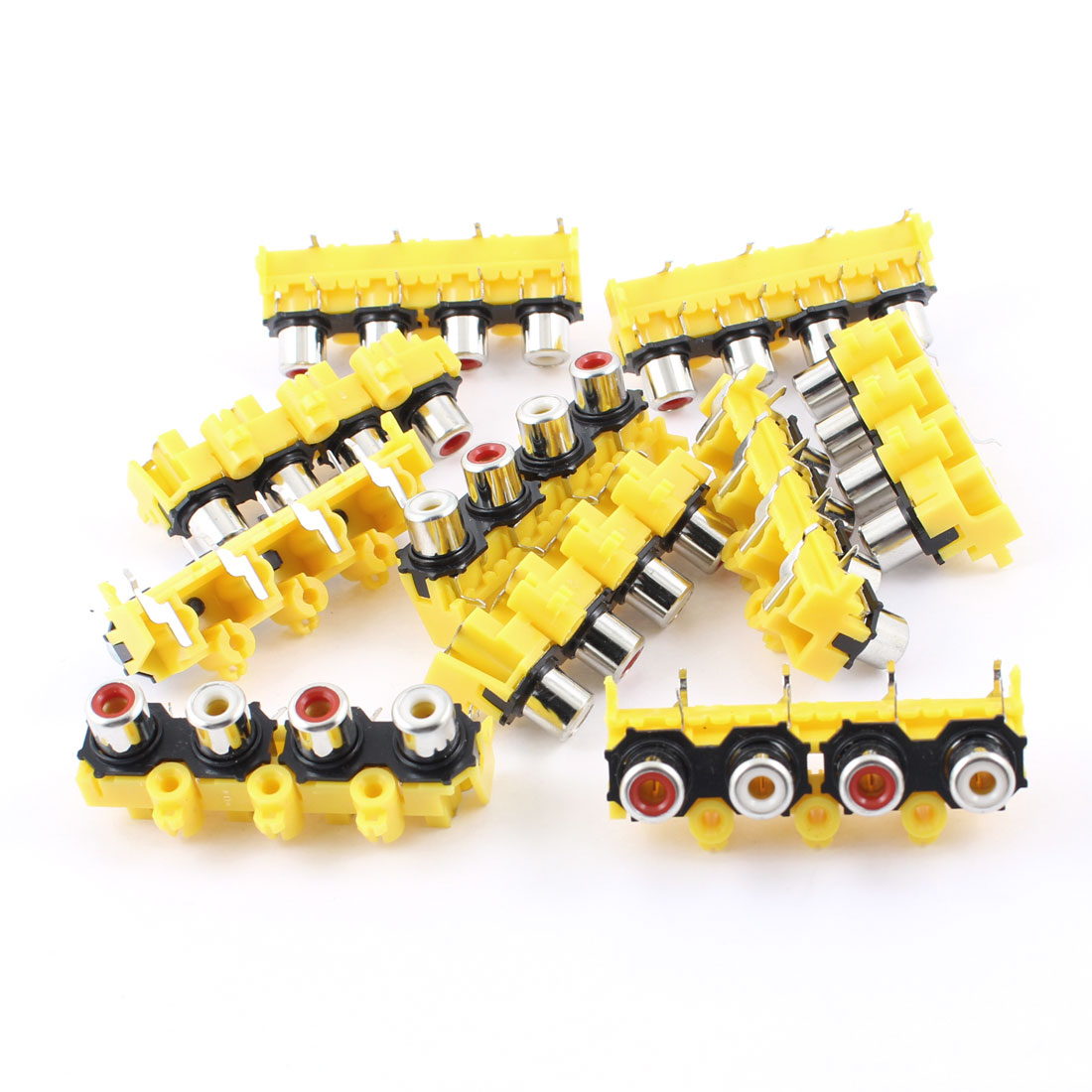 10 Pcs Audio Video AC Concentric RCA Socket 4 Female Jack Connector Yellow Black
