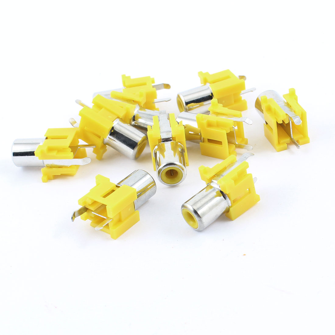 10 Pcs Mini Female Audio Jack RCA Mount with 2 Terminal 3mm Socket Yellow