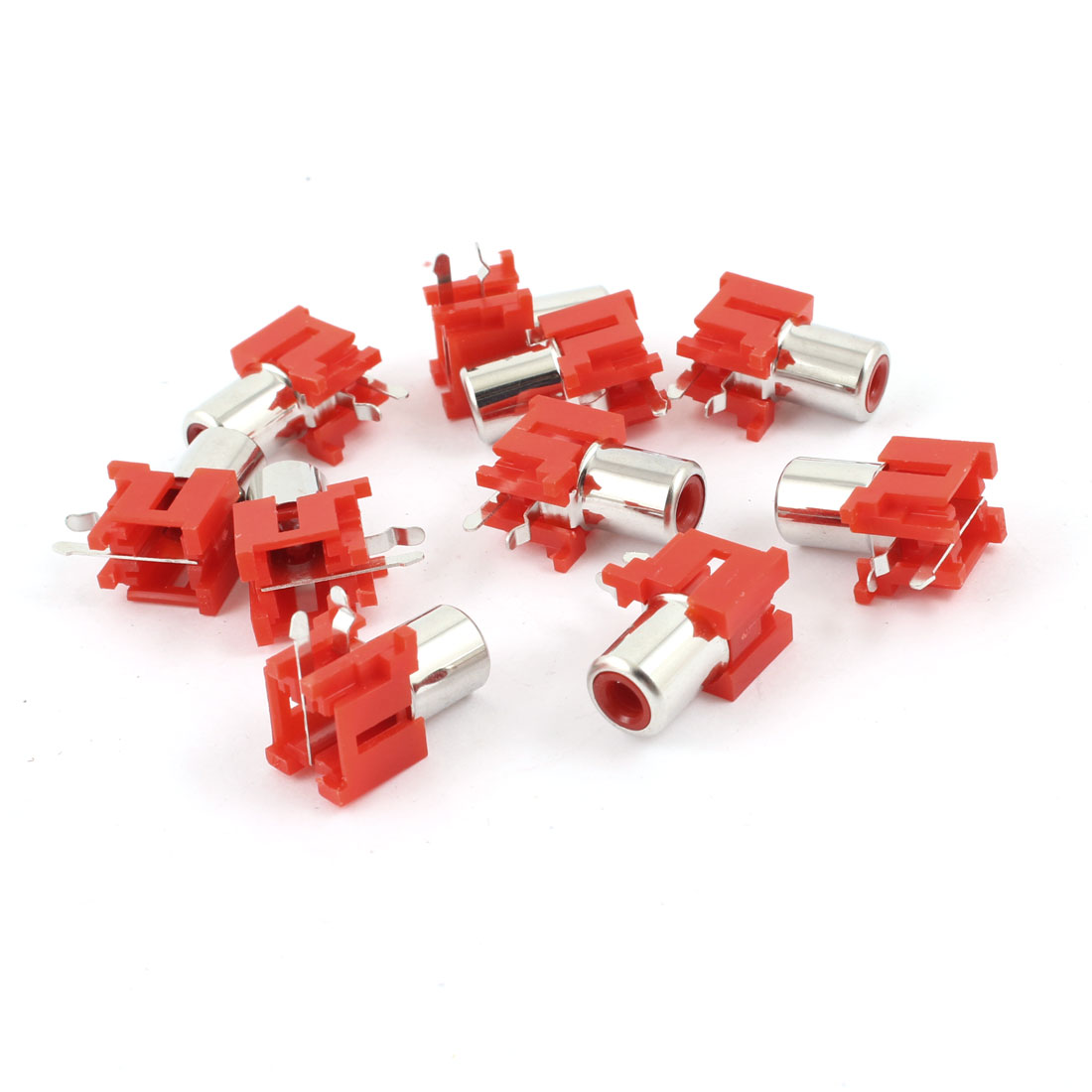 AV Single Female Jack RCA Socket Connectors Red Silver Tone 10 Pcs