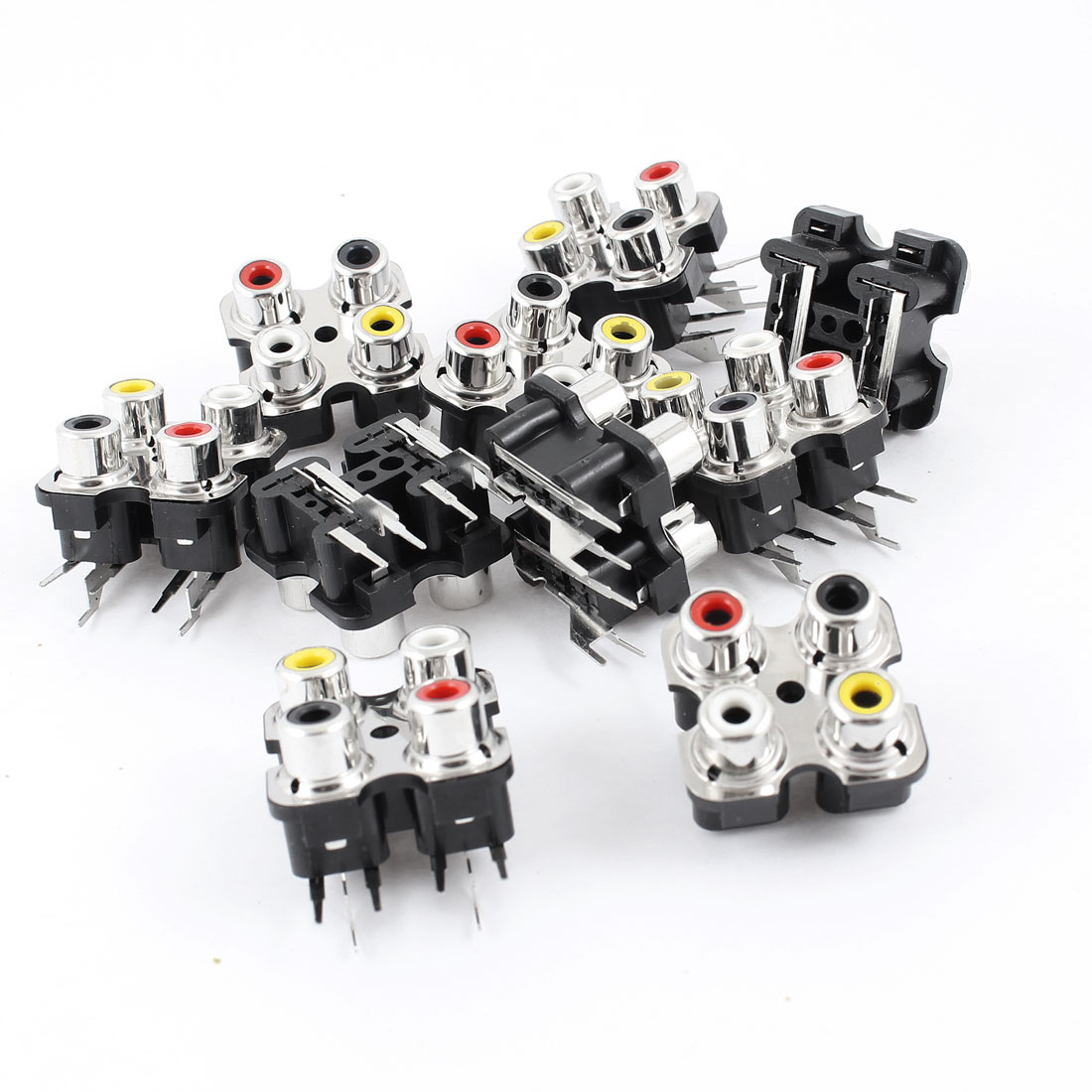 PCB Mount AV Concentric Outlet 4 RCA Female Socket Black Board 10 Pcs