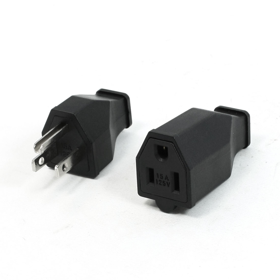 Pair 3 Terminals US Plug Insulating Shell Cable Connecting Head 15A 125V w Socket