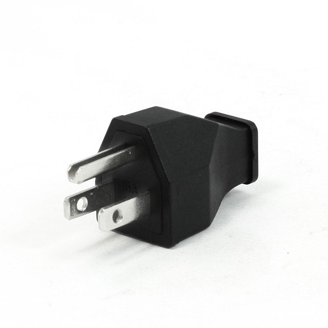 15A 125V Plastic Handle 9.5mm Cord Hole Connector 3 Terminals US Plug