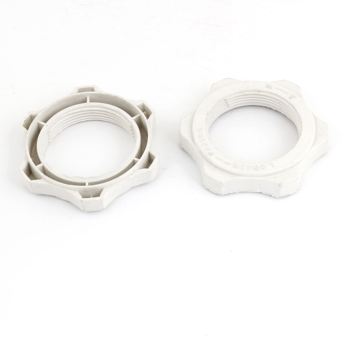 Off White Plastic 43mm Thread Fastening Screw Nut Fan Guard Fastener 2 Pcs