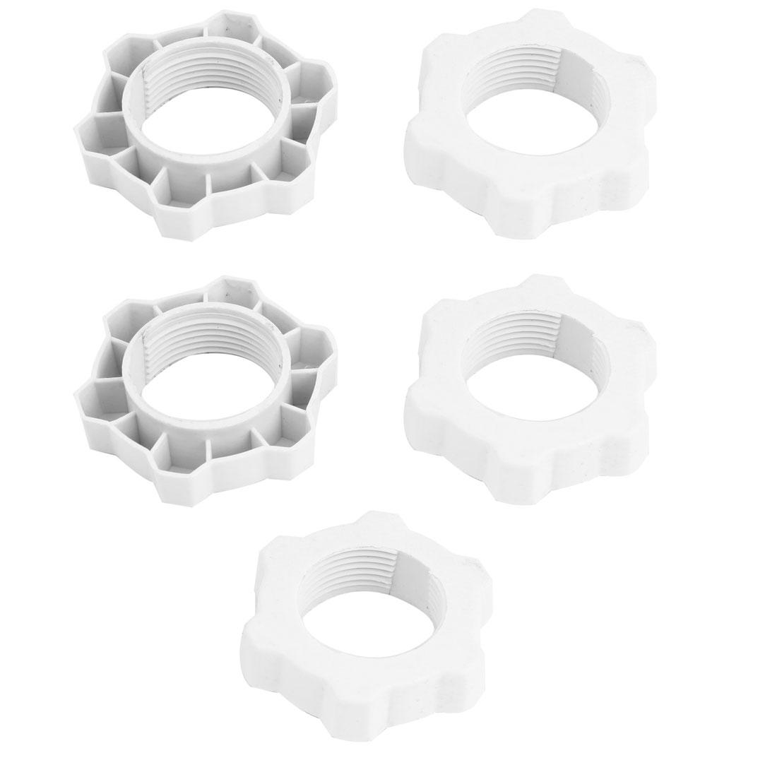 Off White Plastic 31mm Thread Fastening Screw Nut Fan Guard Fastener 5 Pcs