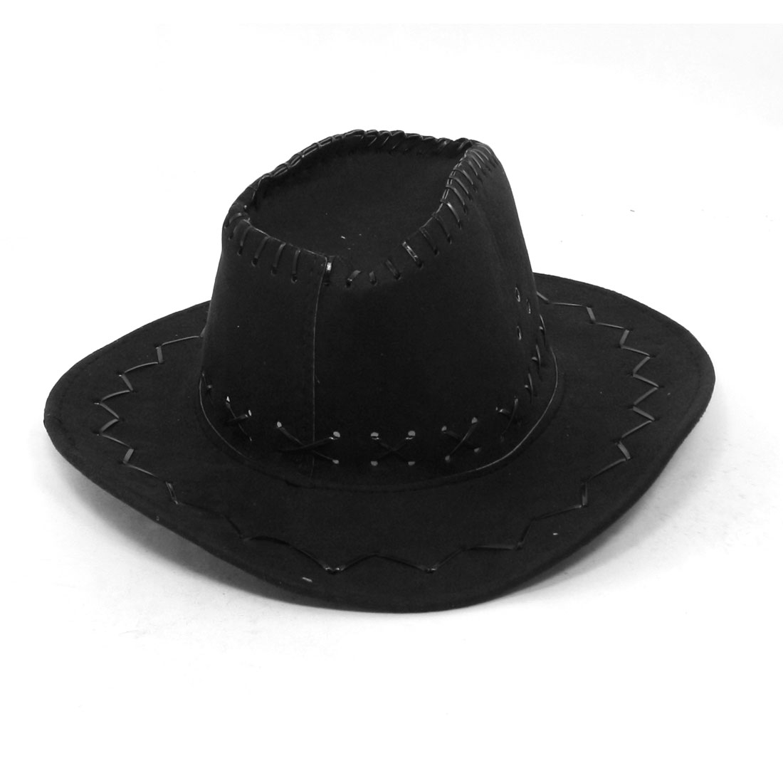 Adjustable Chin Strap Faux Leather Cowboy Hat Black for Man