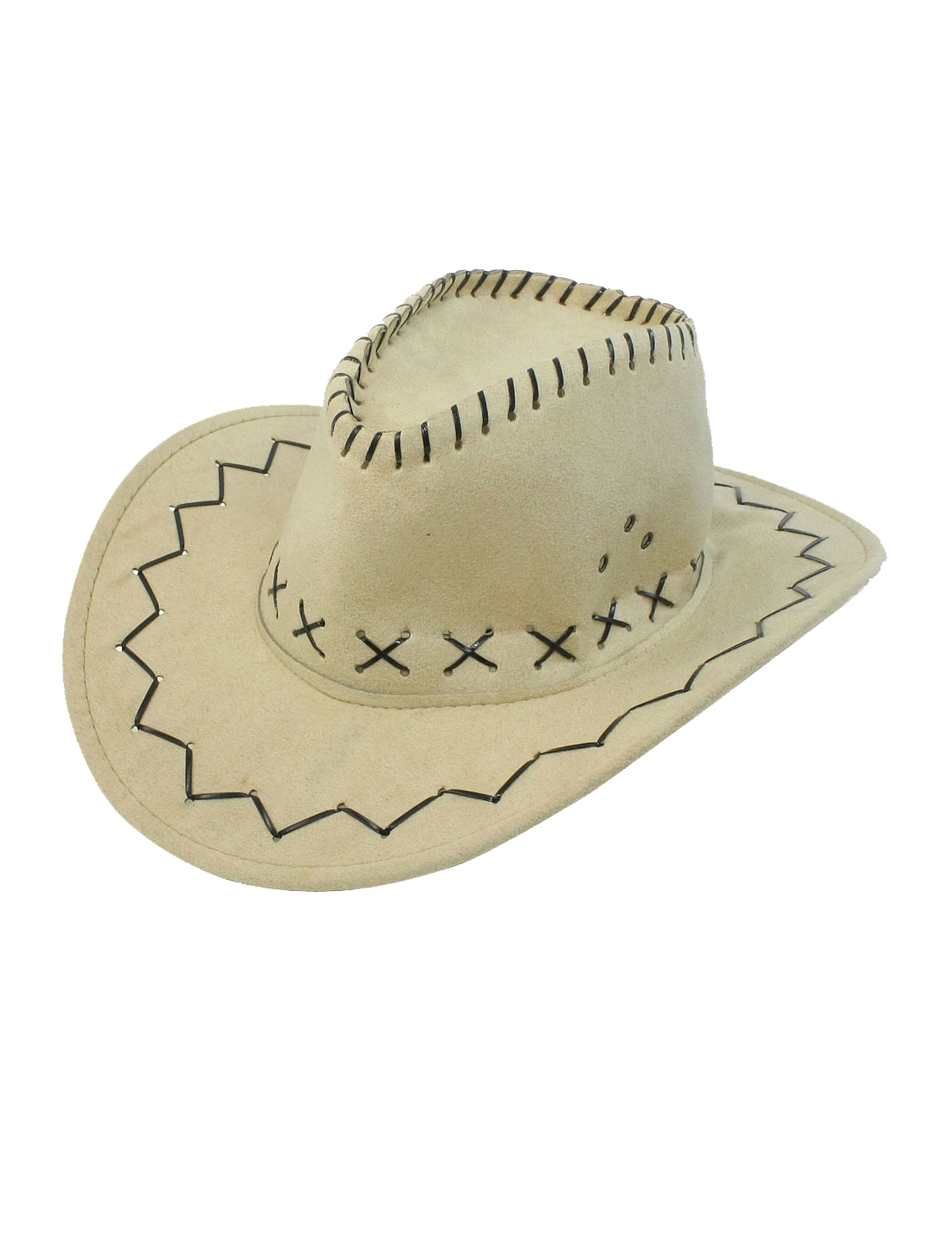 Faux Suede Adjustable Chin Strap Cowboy Hat Beige for Man