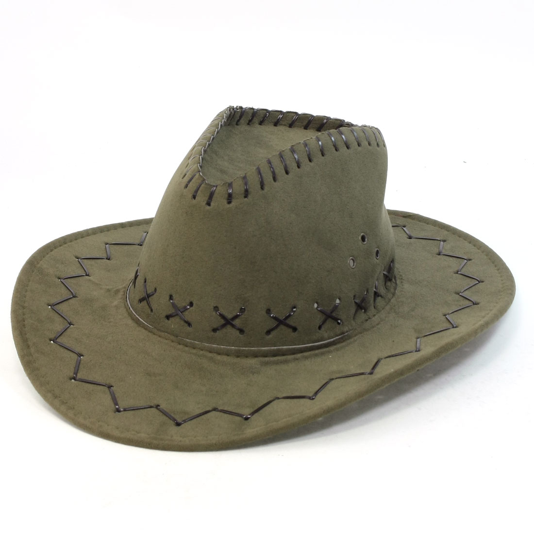 Man Army Green Faux Leather Adjustable Chin Strap Cowboy Hat