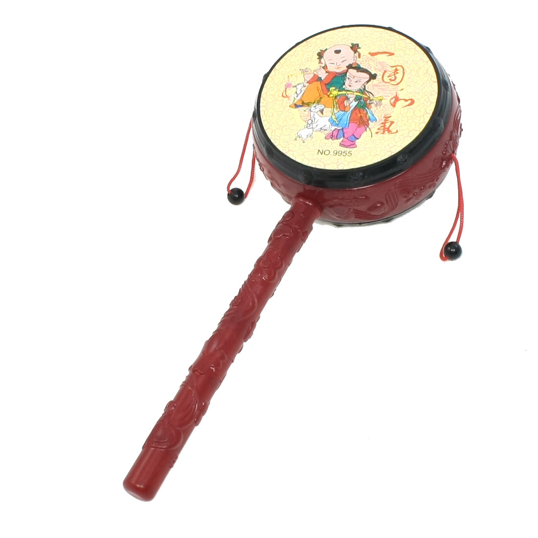 Chinese Traditional Hand Rattle Drum Toy for Toddlers Babies