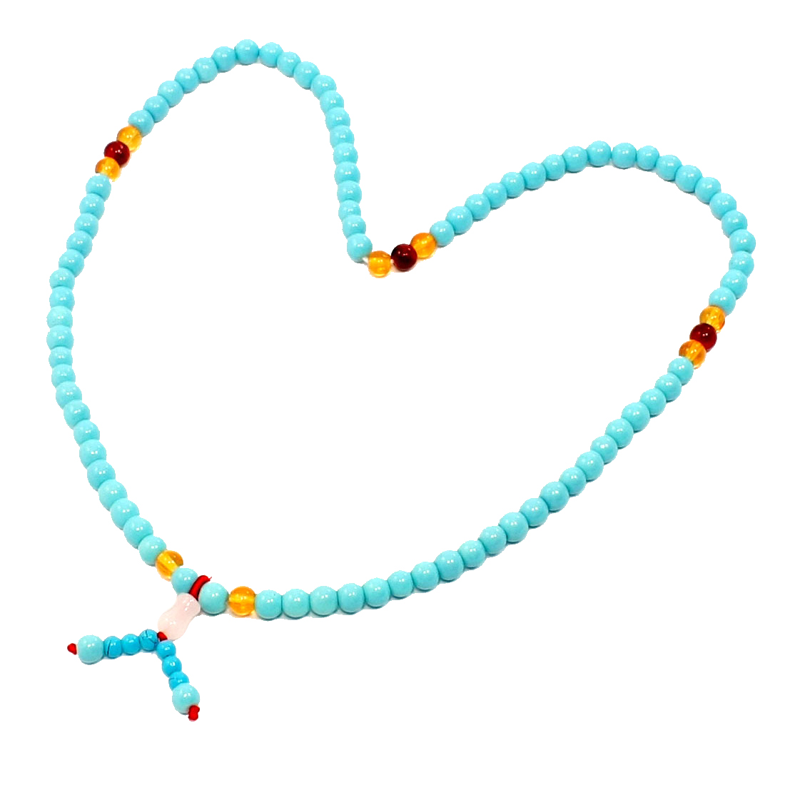 Light Blue Faux Jade Plastic Beads Decor Stretchy Necklace