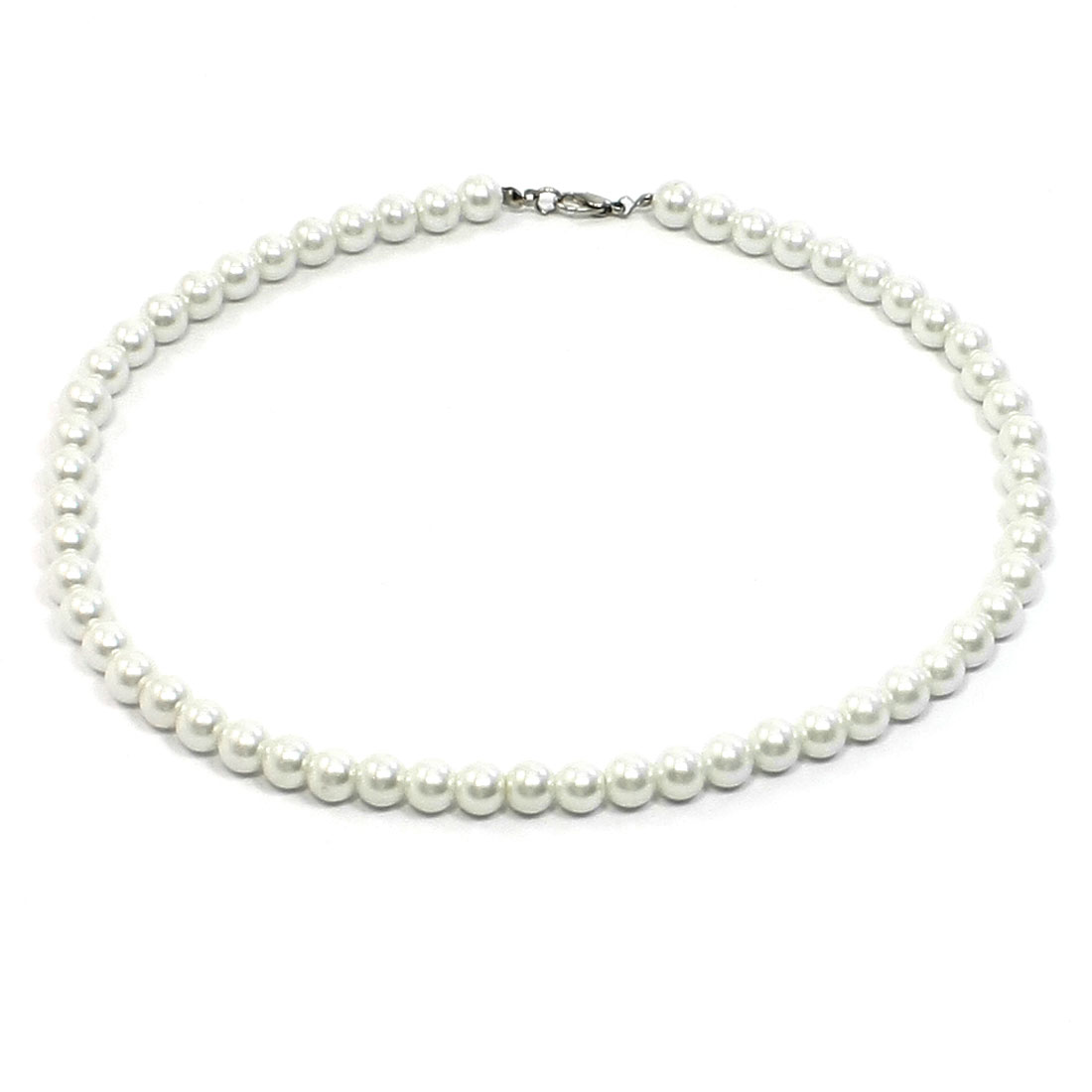 Manmade White Faux Pearl Necklace Metal Clasp Costume Jewelry