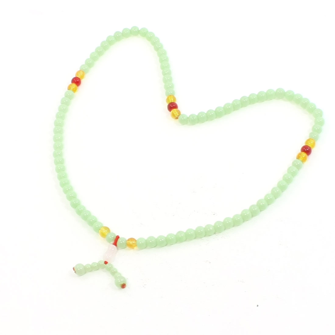 Light Green Faux Jade Plastic Beads Decor Stretchy Necklace