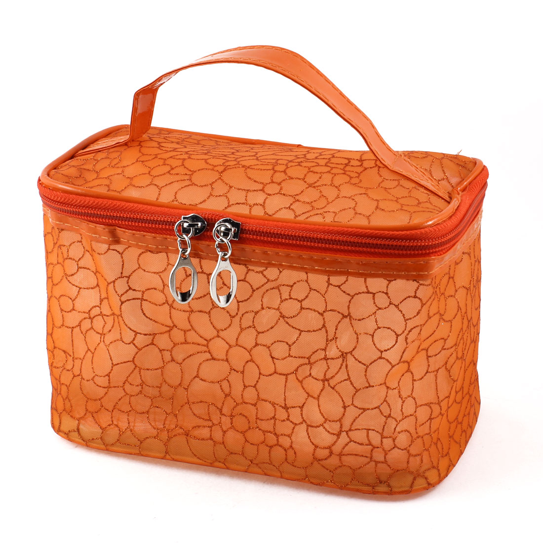 Stone Block Print Zipper Closure Makeup Cosmetic Bag Holder Orange for Woman