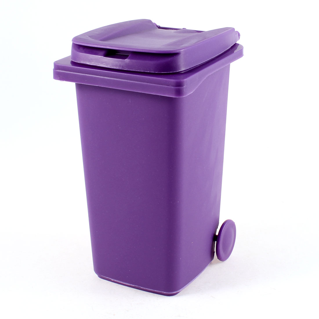 Purple Plastic Trash Can Style Ornament Pen Pencil Brush Holder Container