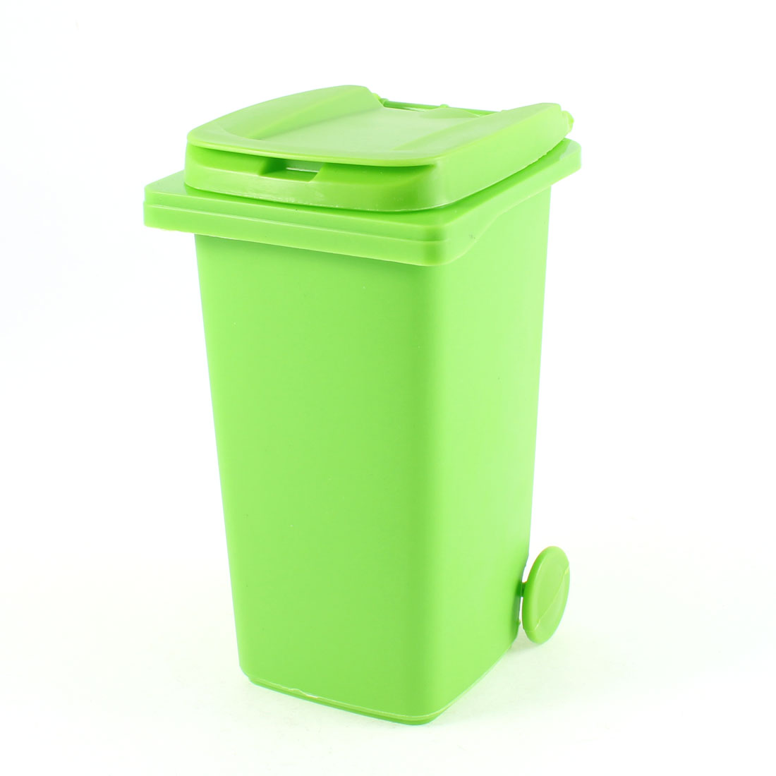 Green Plastic Trash Can Style Ornament Pen Pencil Brush Holder Container