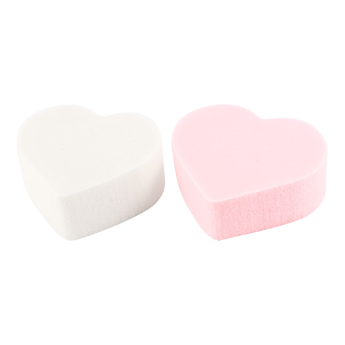Ladies Pink White Heart Shape Sponge Makeup Powder Puffs 2 in 1