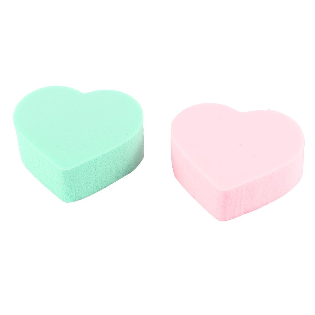 Lady Women Green Pink Sponge Facial Cleaner Powder Pads 2 Pcs