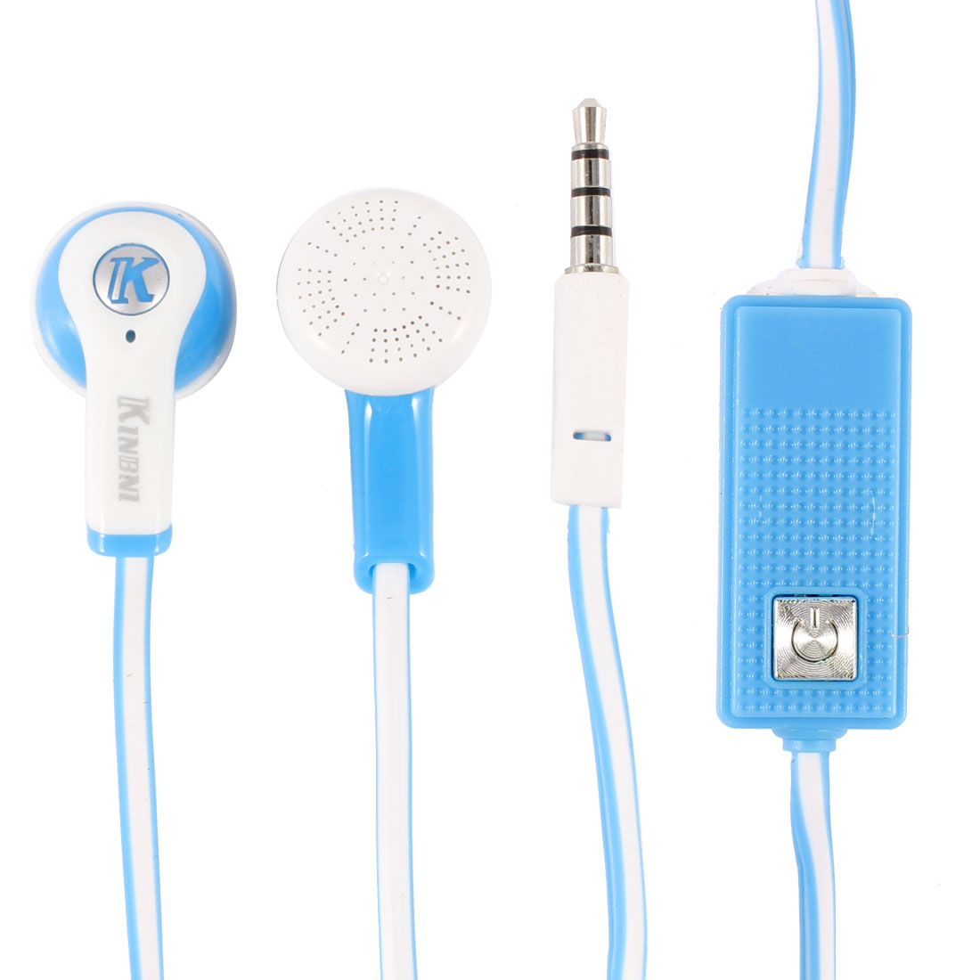 "45"" Blue White 3.5mm Plug In Ear Headphone Earphone w Microphone for Cell Phone"