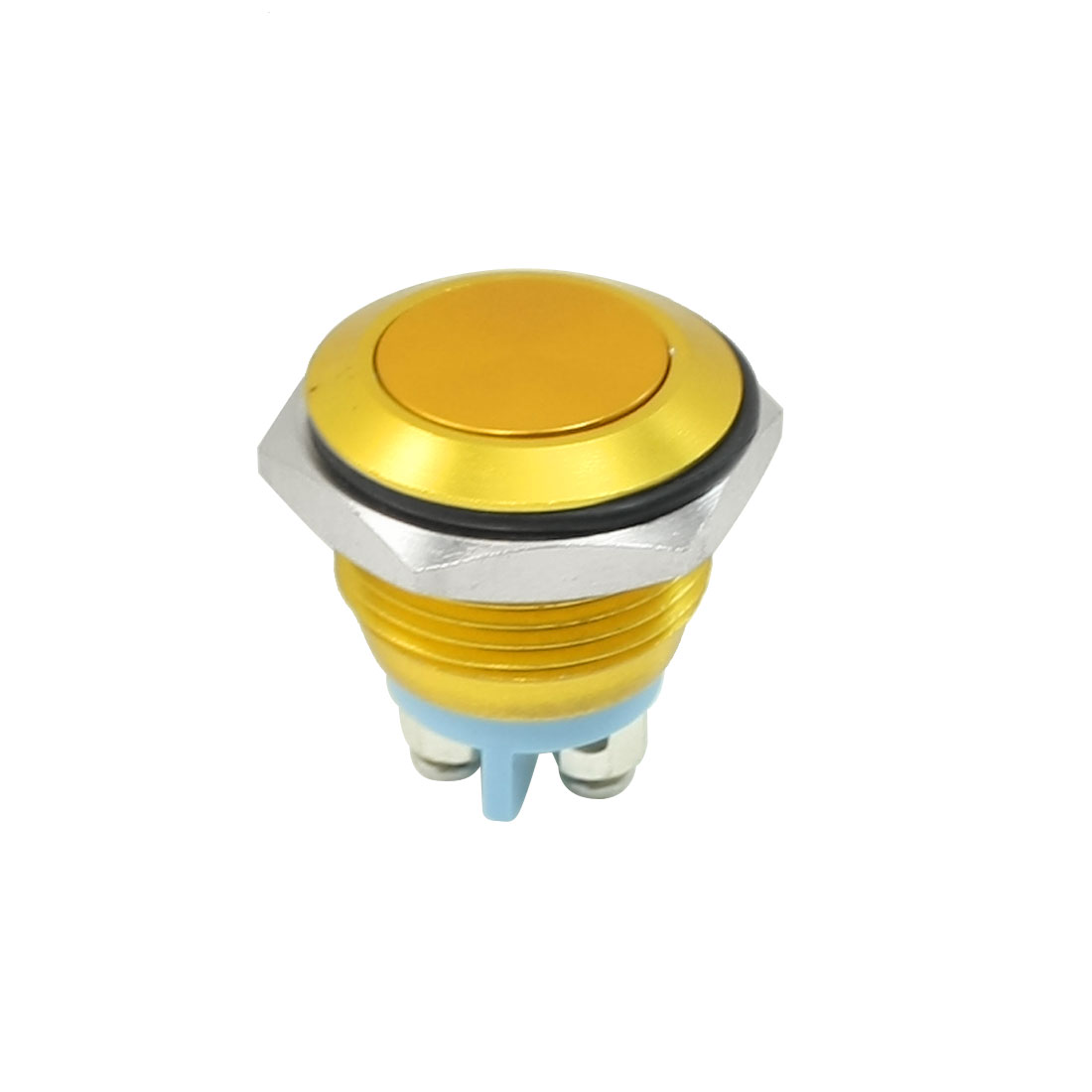 AC 250V 3A Gold Tone Flat Top Non Locking SPST N/O Push Button Switch