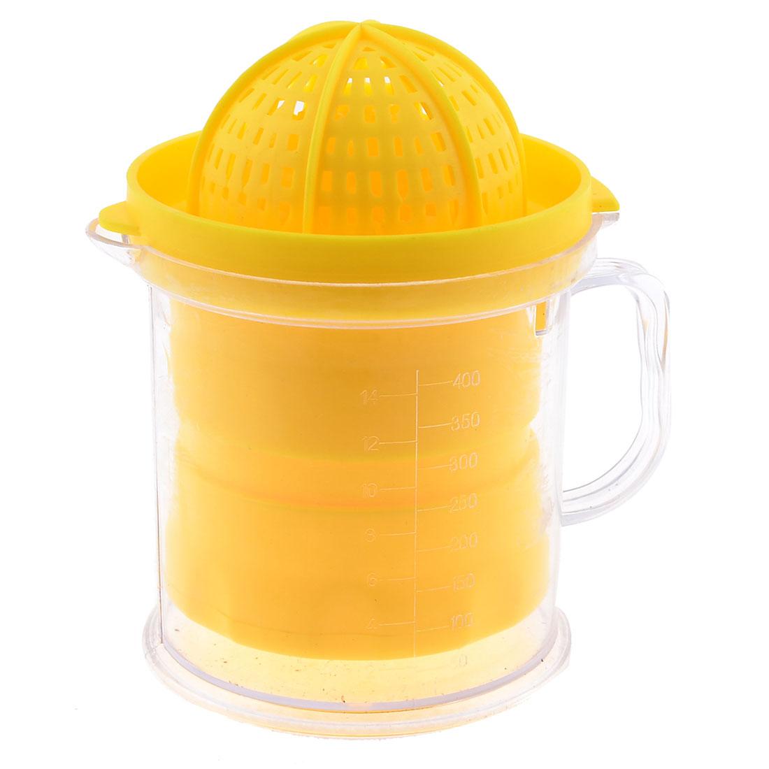 Fruits Citrus Orange Press Squeezer Yellow Clear Plastic Manual Juicer 400ML