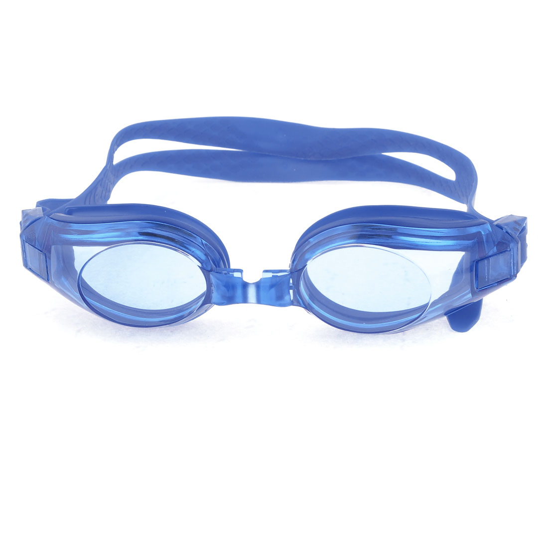 Blue Stretchy Anti-Slip Head Strap Swimming Goggles Set for Children