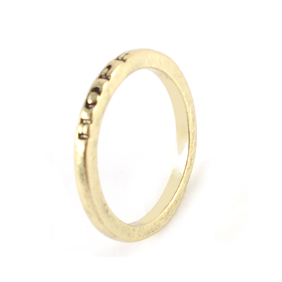 Ladies Bronze Tone Metal Hope Letter Carved Finger Ring Decoration Gift