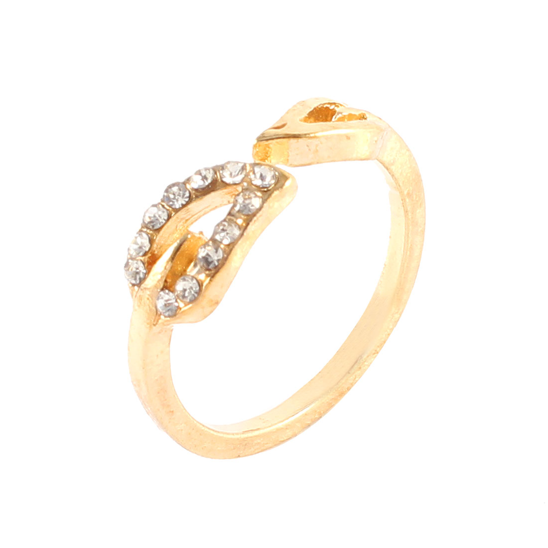 Ladies Gold Tone Metal Leaf Decor Glitter Rhinestone Inlaid Finger Ring Gift