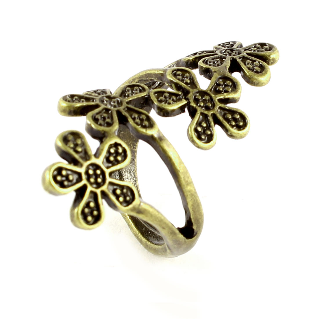 Ladies Vintage Style Bronze Tone Hollow Out Plum Flower Decor Metal Finger Ring