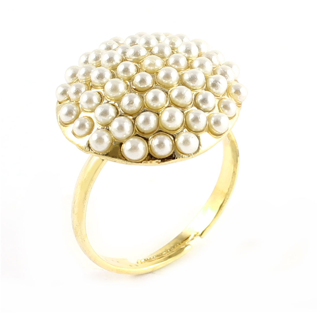 Ladies White Faux Pearl Inlaid Mushroom Shaped Decor Gold Tone Metal Finger Ring