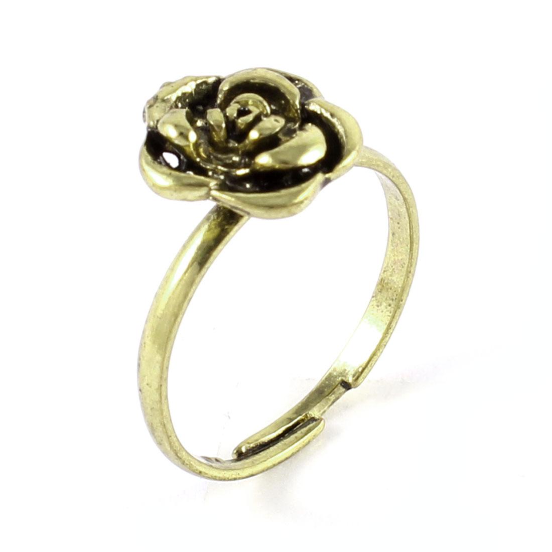 Ladies Bronze Tone Metal Rose Flower Detailing Adjustable Finger Ring Gift