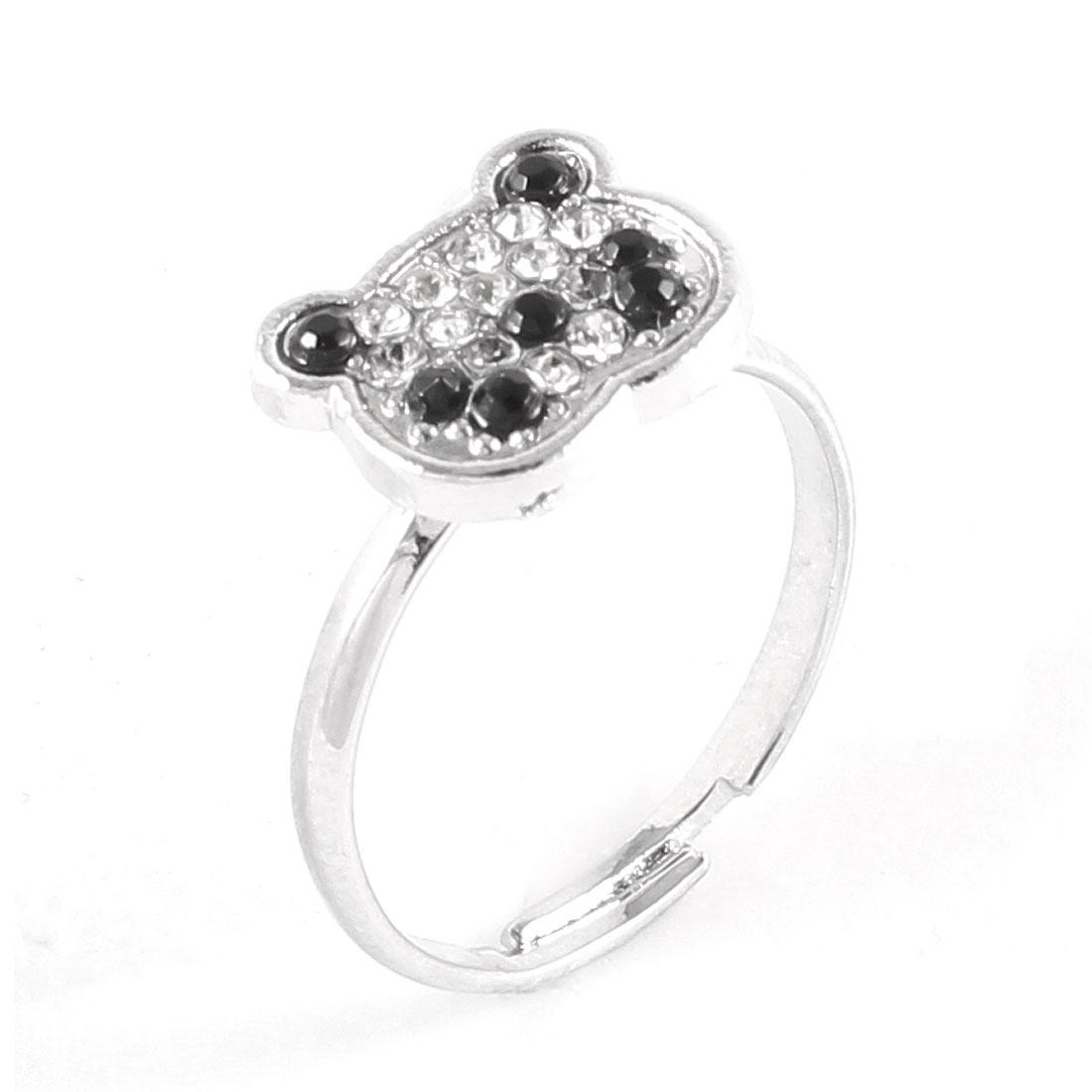 Ladies Silver Tone Metal Bear Head Glitter Rhinestone Inlaid Finger Ring Gift