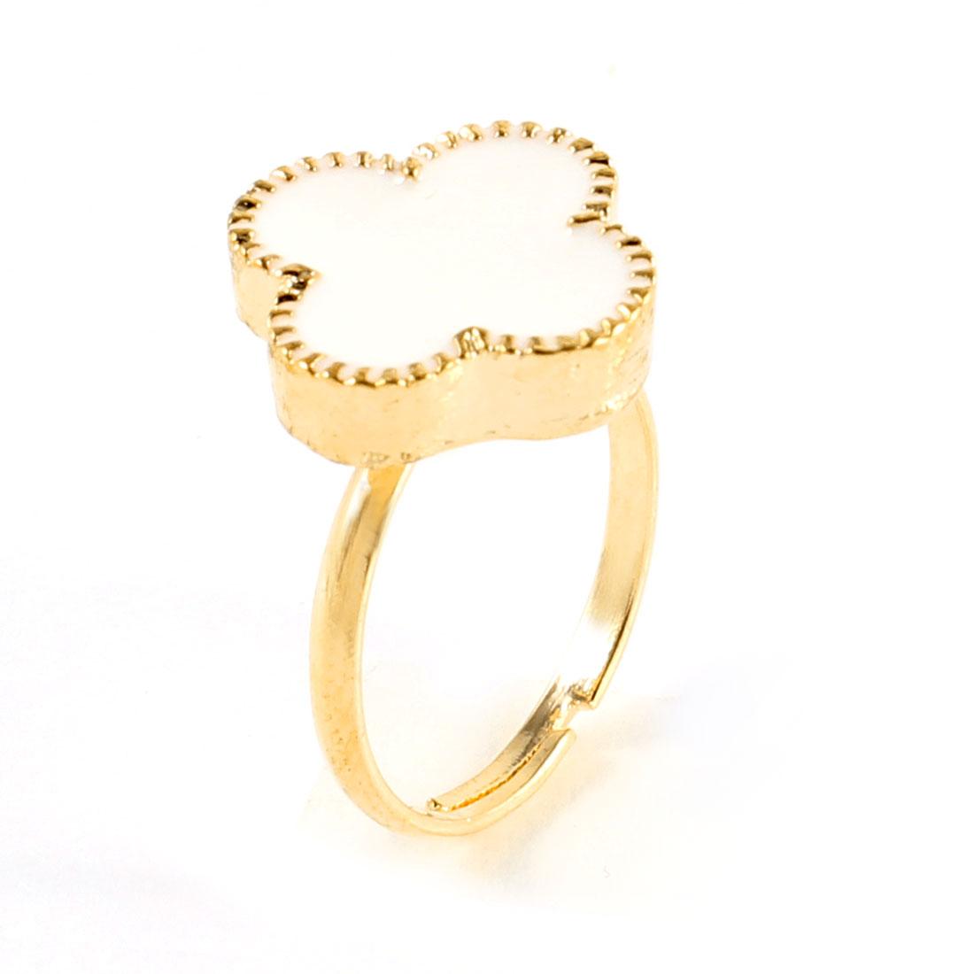 Ladies White Four Petal Flower Decor Gold Tone Metal Adjustable Finger Ring