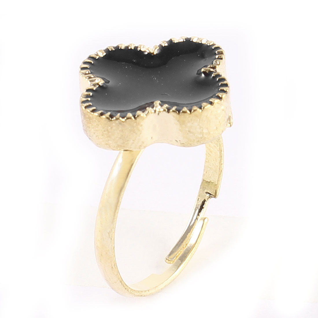 Ladies Black Four Petal Flower Decor Gold Tone Metal Adjustable Finger Ring
