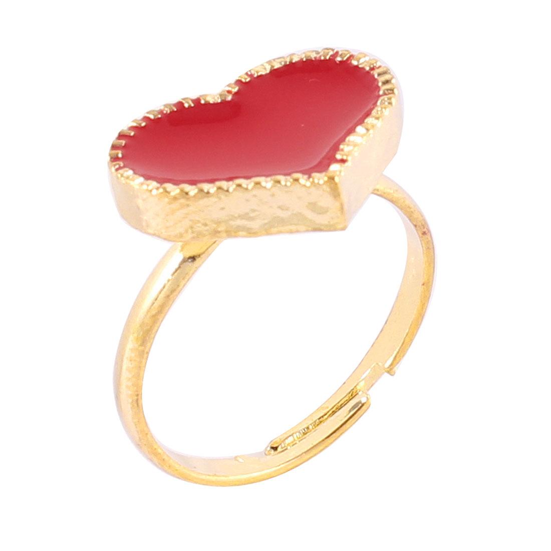 Ladies Red Heart Shape Decor Gold Tone Metal Adjustable Finger Ring