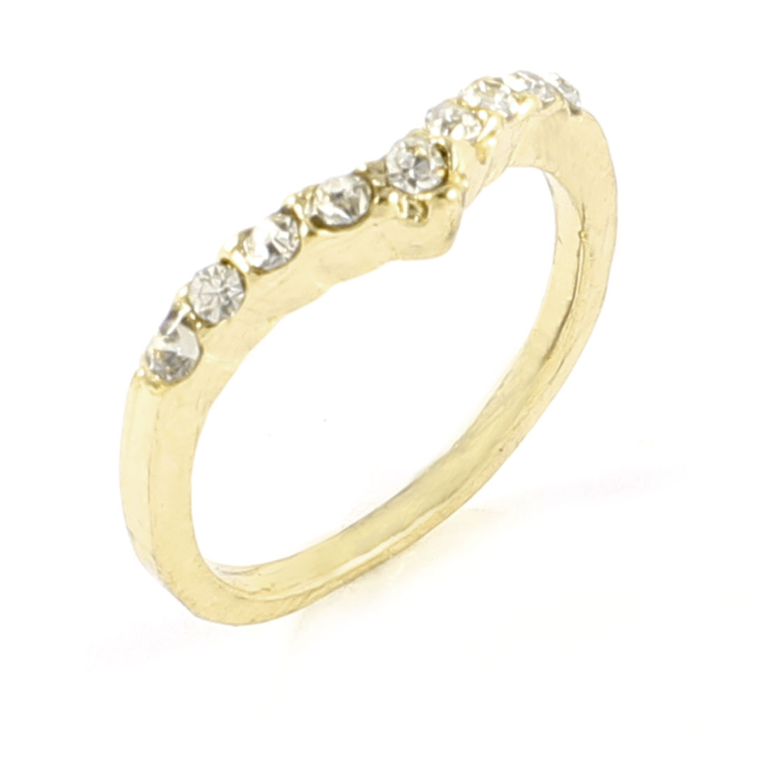Gold Tone Metal Glitter Rhinestone Detailed Finger Ring Gift for Ladies