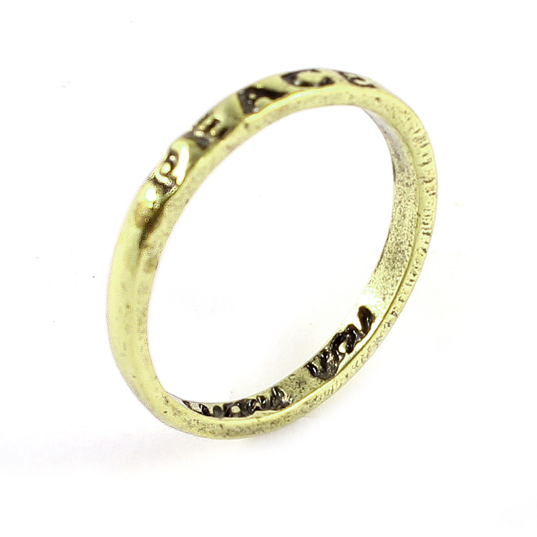 Ladies Bronze Tone Metal Peace Letter Carved Finger Ring Decoration Gift